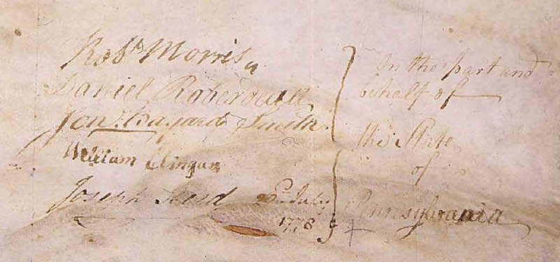Close up of Pennsylvania's signers of the Articles