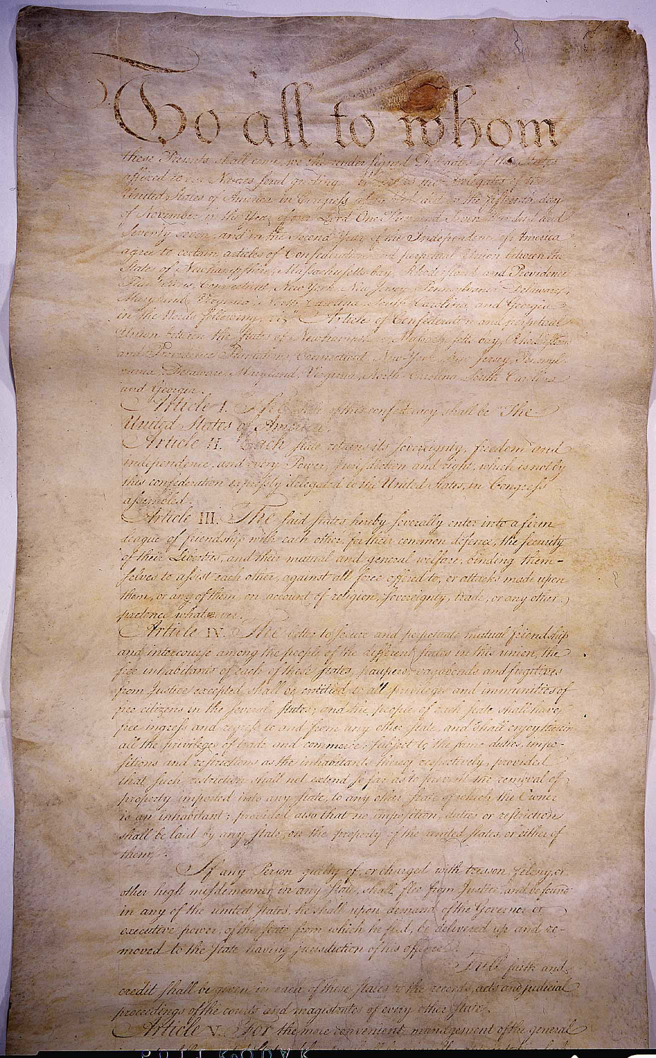 First Page of the Articles of Confederation
