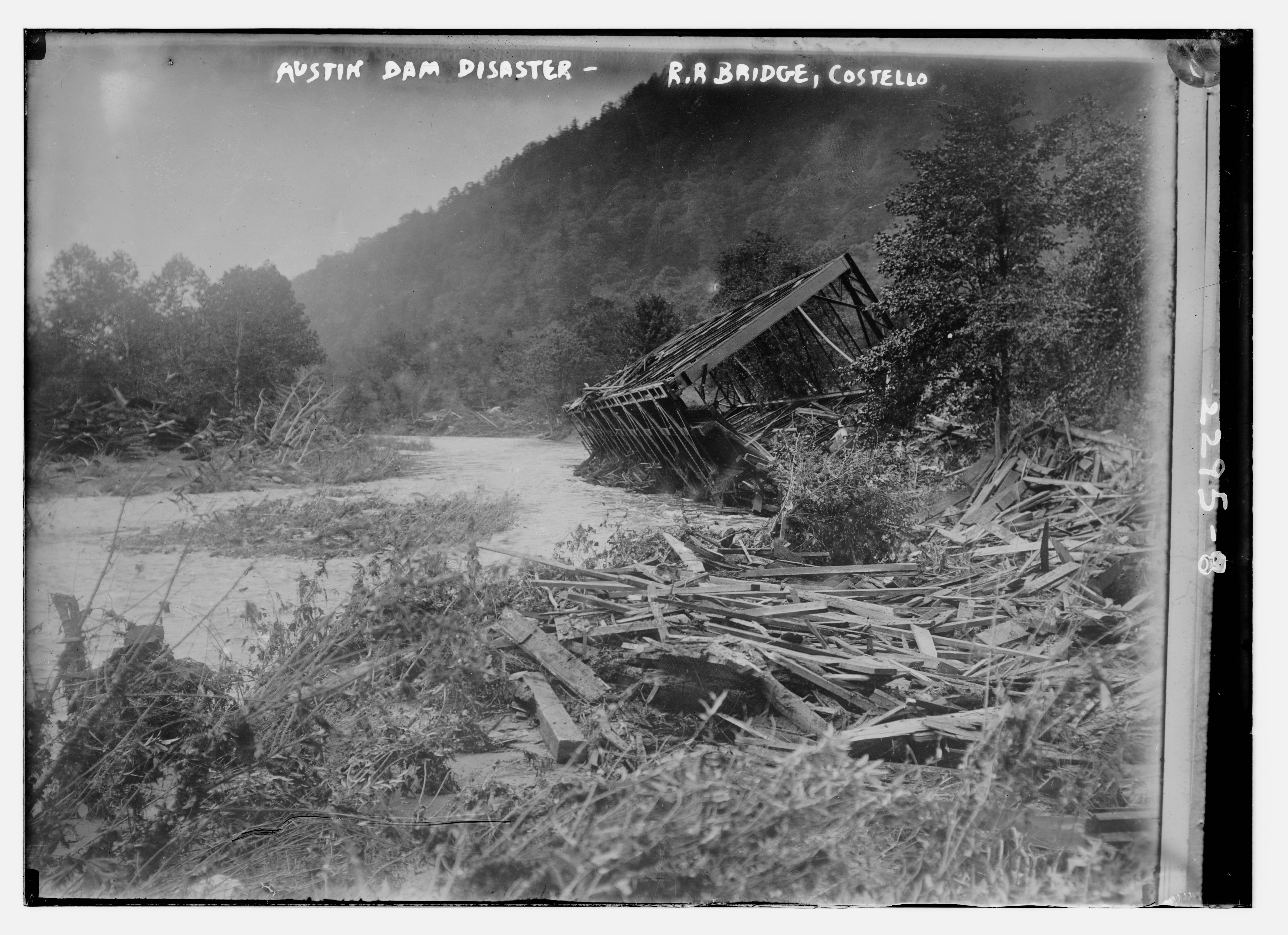 Wreckage of the railroad bridge at Costello