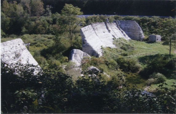 Side Vista of what remains of the Austin Dam