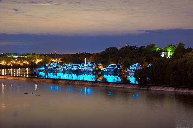 Boathouse Row with Blue Lights
