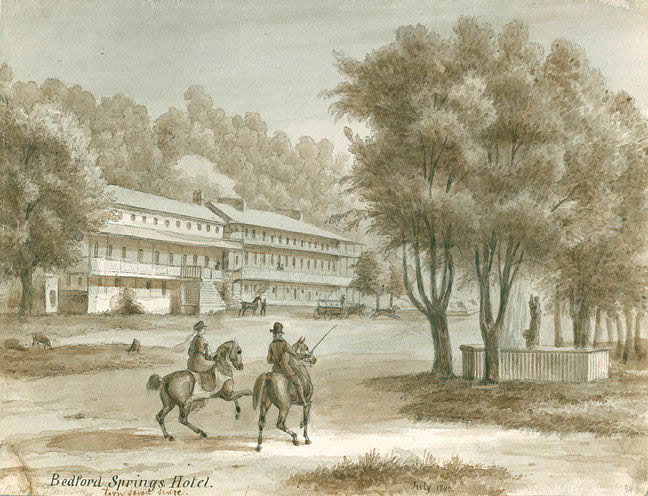 Lithograph of the Bedford Springs Hotel in 1840