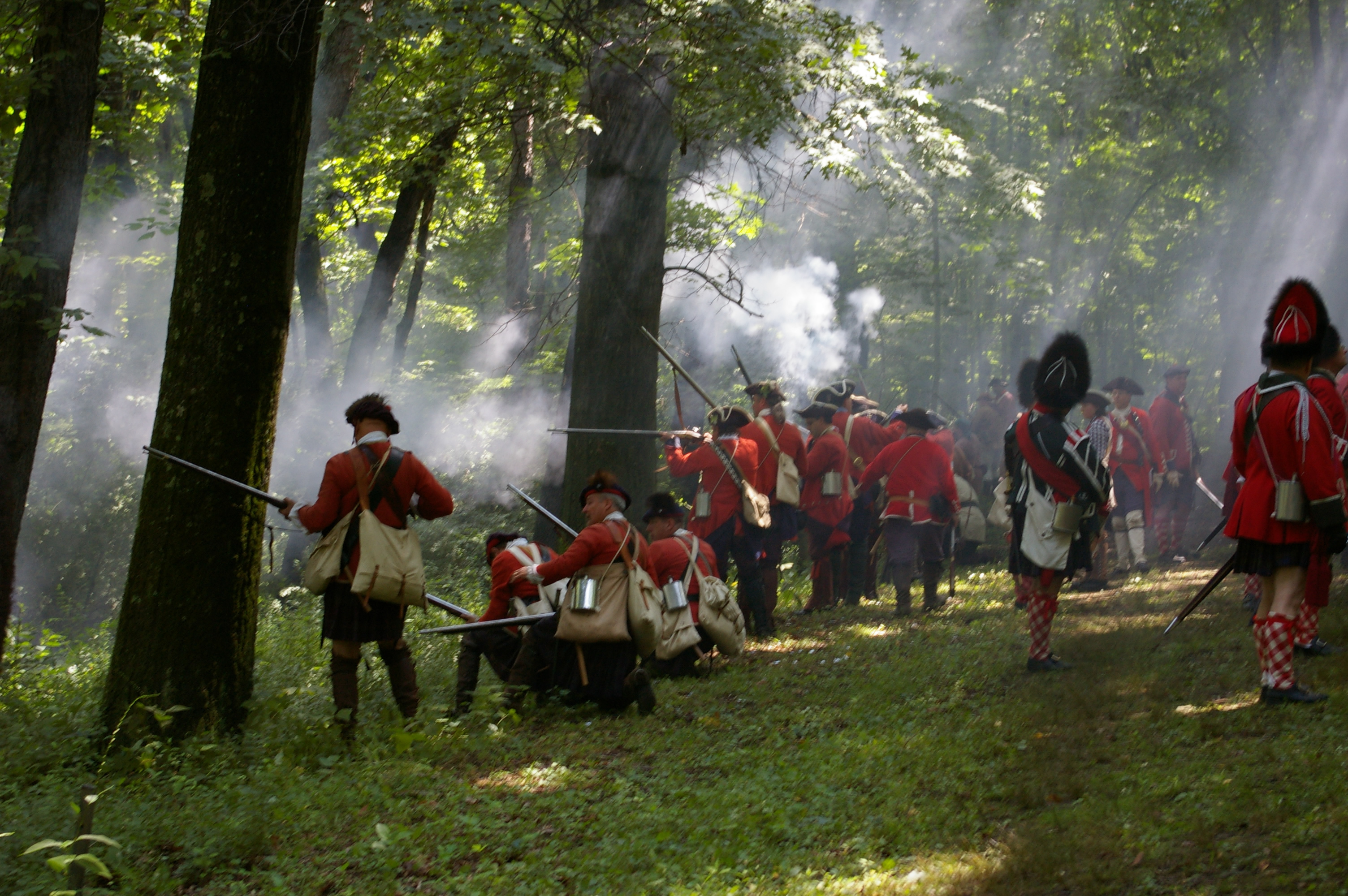British troops firing into the woods