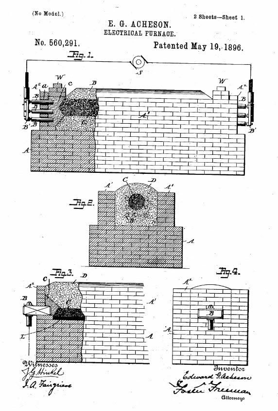 Patent Diagrams for Acheson's Furnace