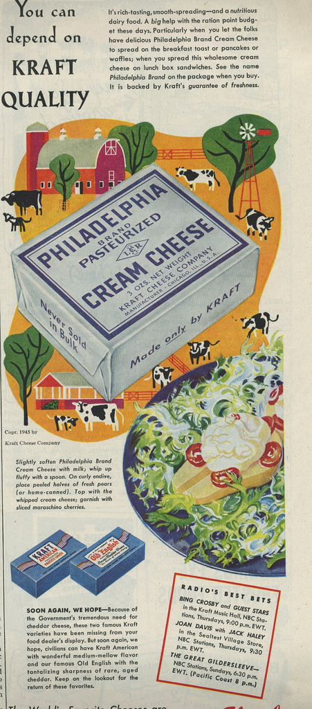 Vintage advertisement for Philadelphia Cream Cheese