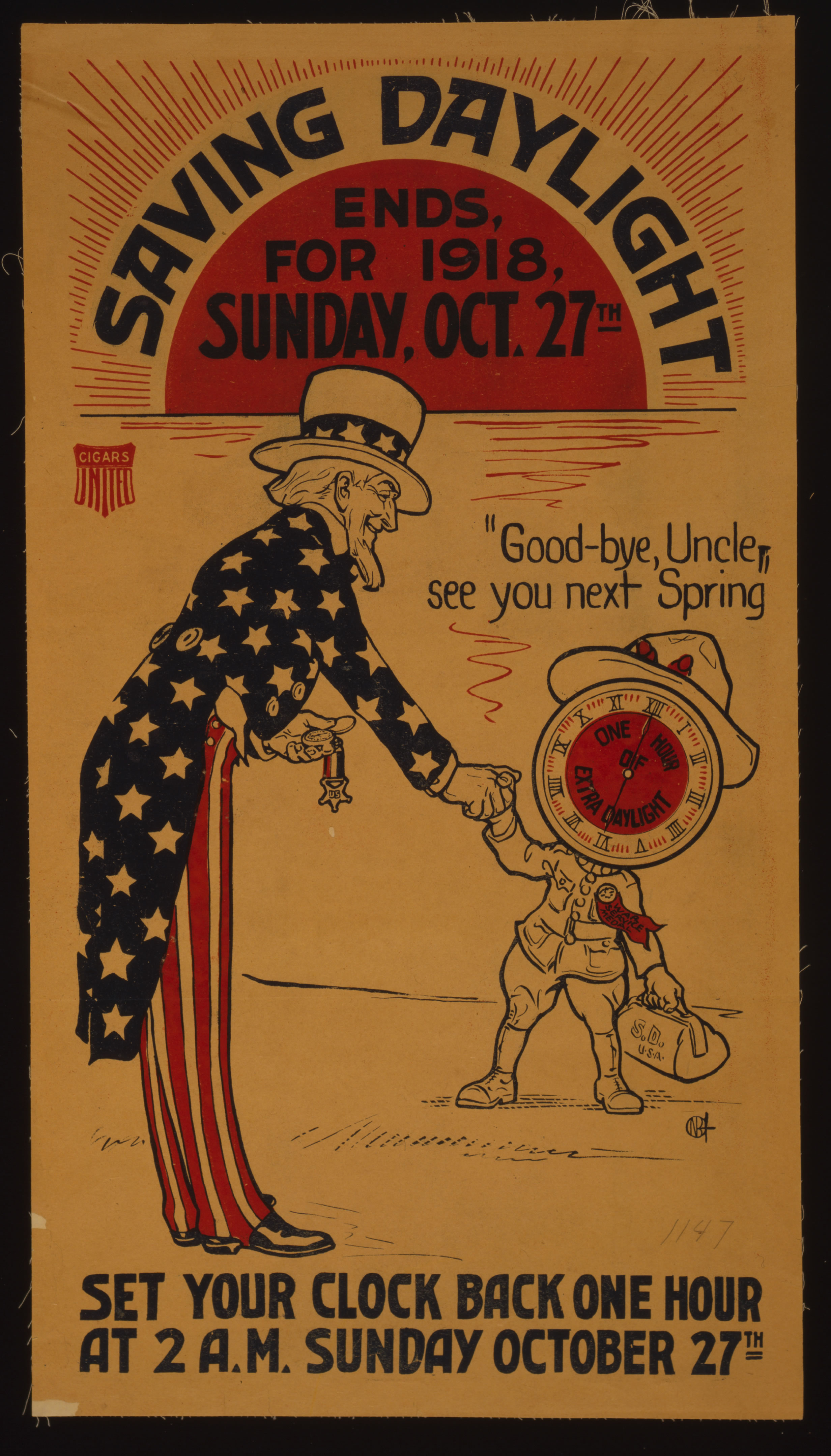 Broadside Accouncing End of Daylight Saving Time, 1918