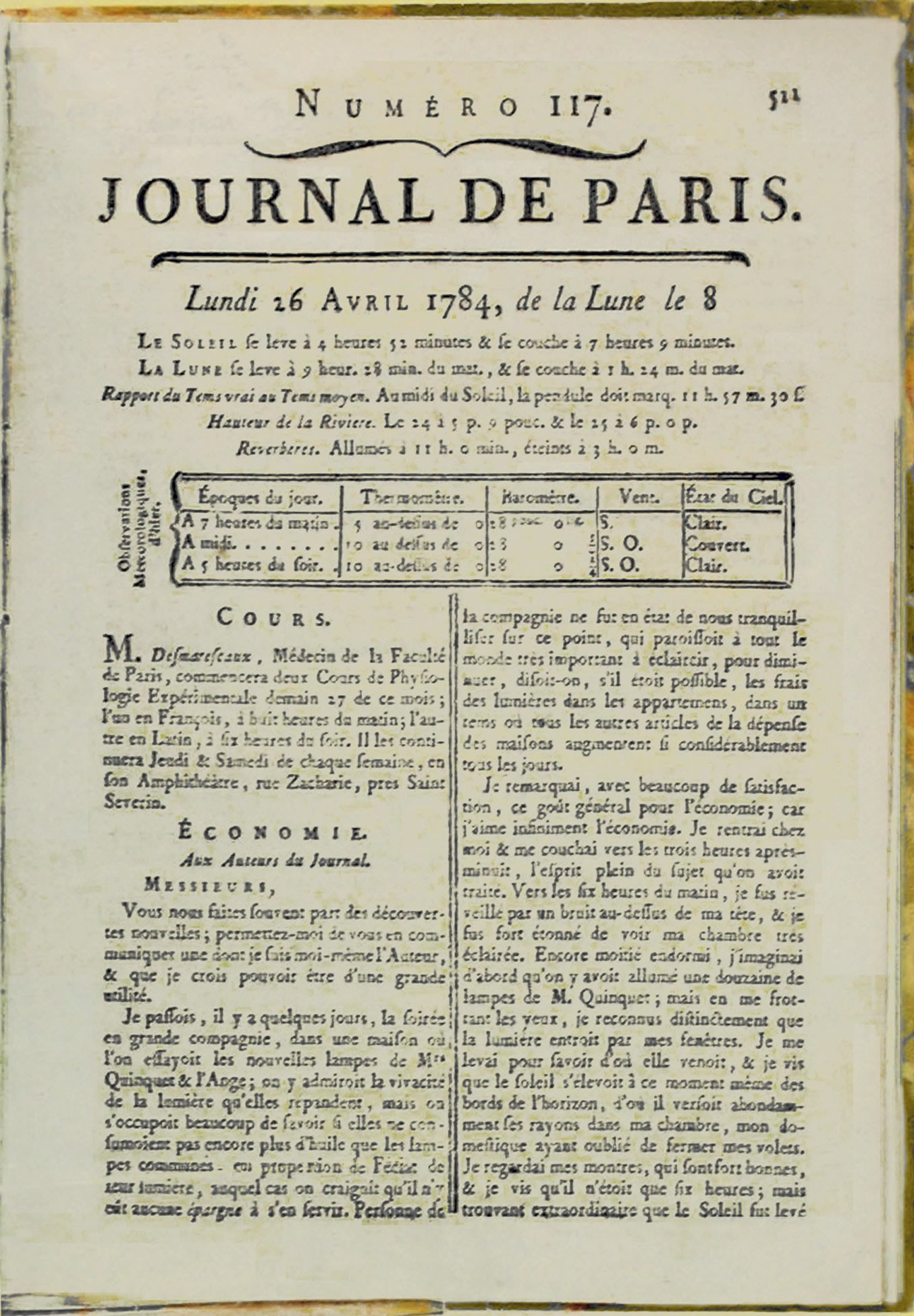 Journal de Paris, 16 April 1784
