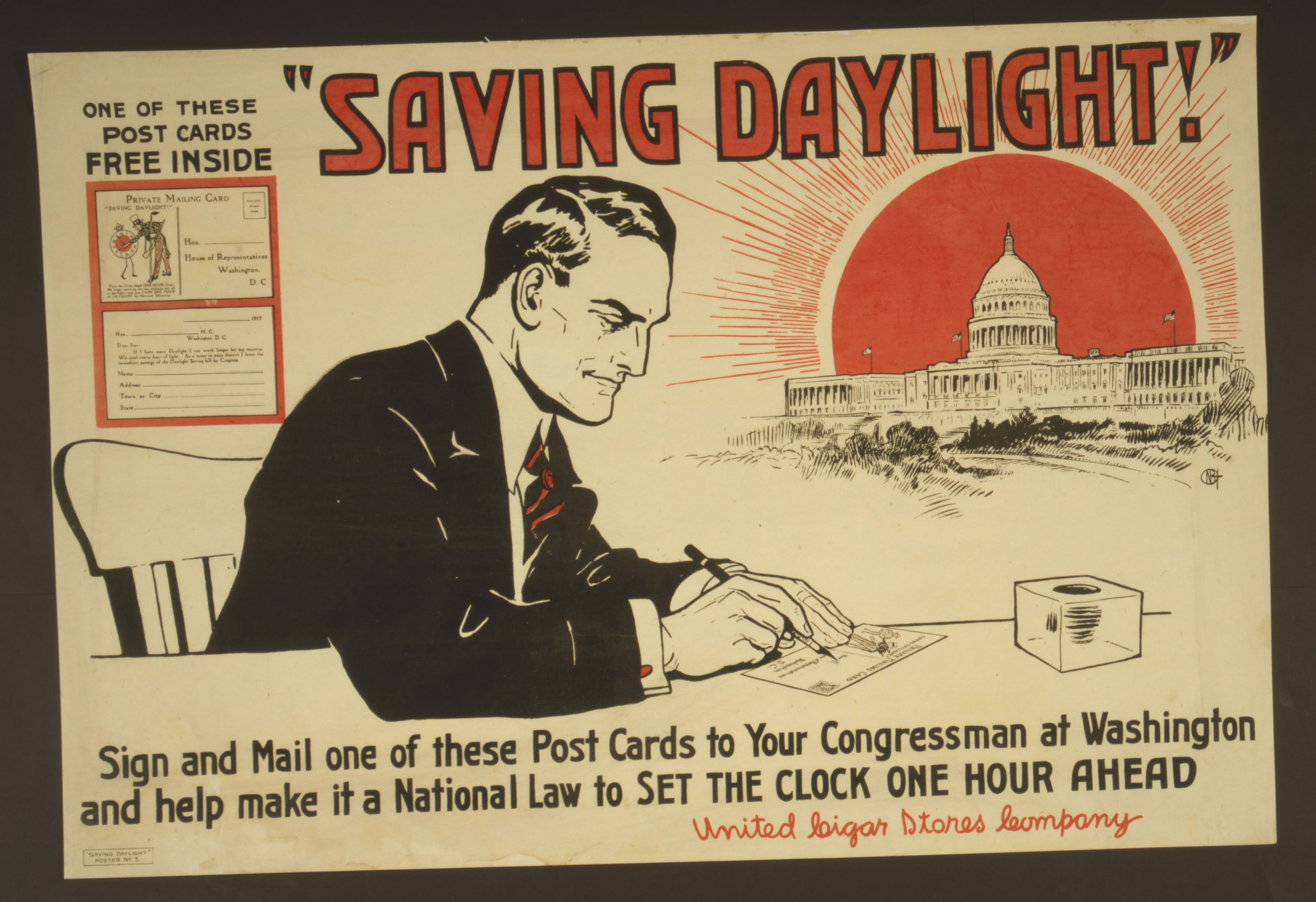 Card urging readers to write to Congress in favor of the Daylight Saving Time Act