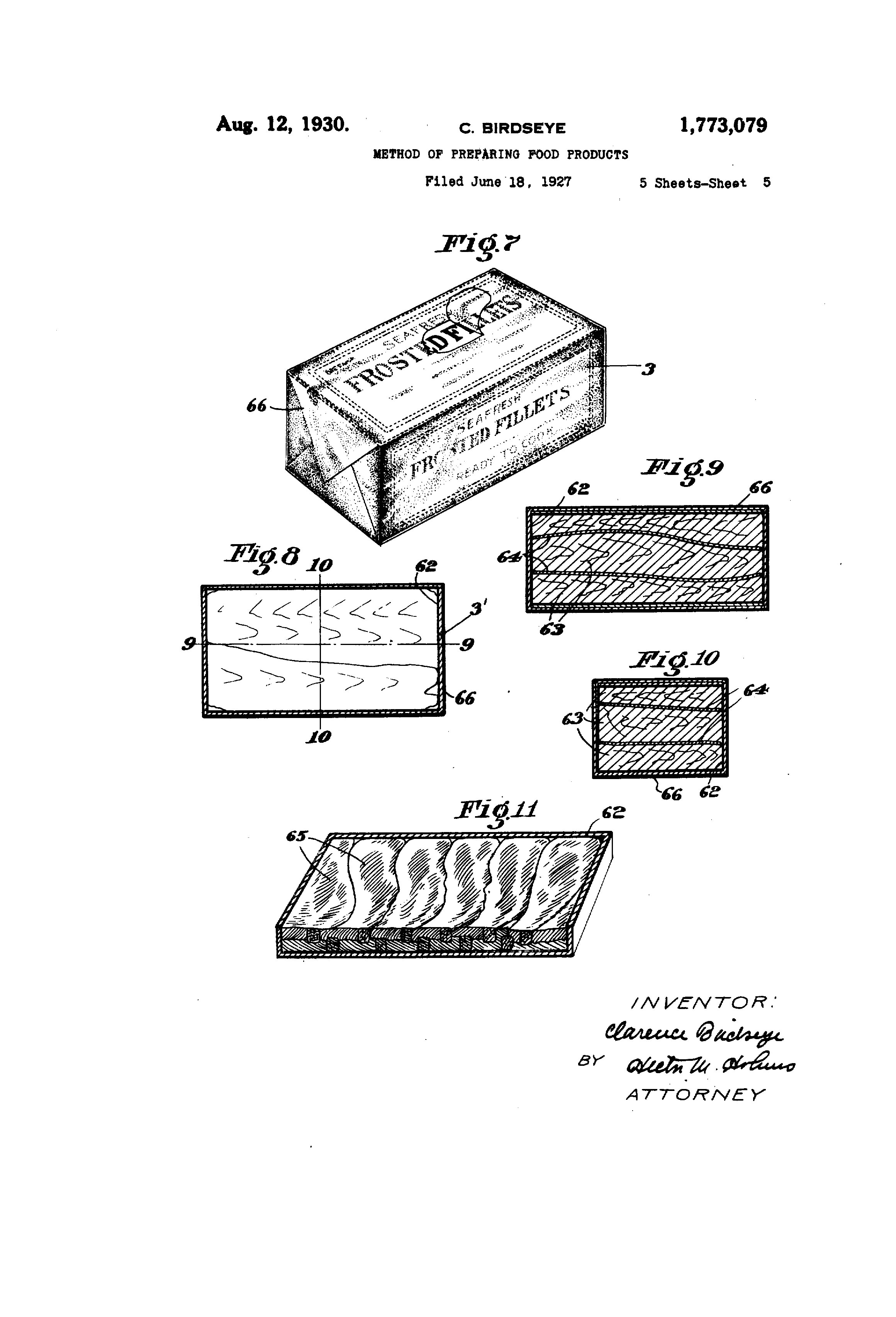 Clarence Birdseye's patent for freezing food