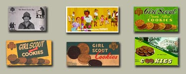 Girl Scout Cookie packaging from the past