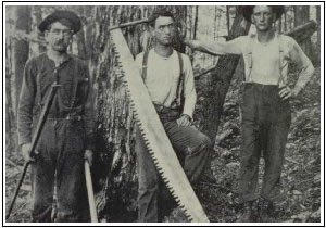 Three Lumbermen Pose with Saws