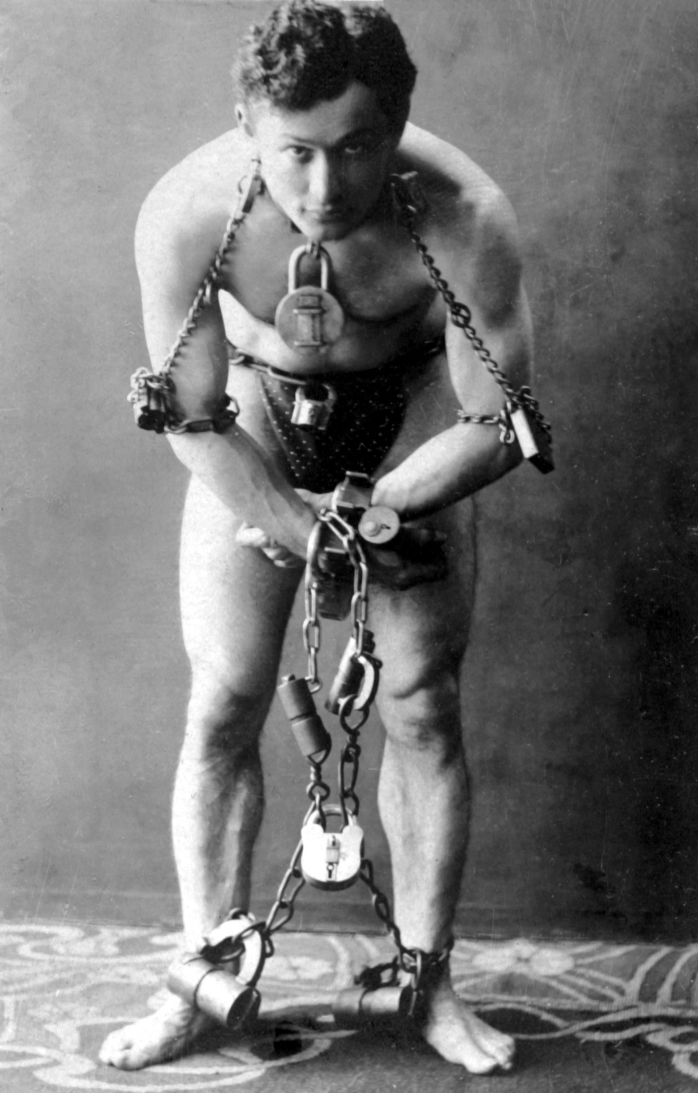 Harry Houdini in Cuffs, prepared for an escape