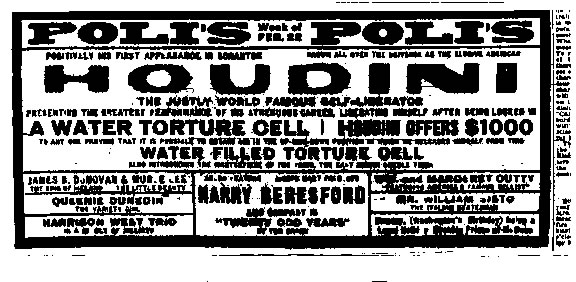 Houdini Ad to play at Poli's in Scranton