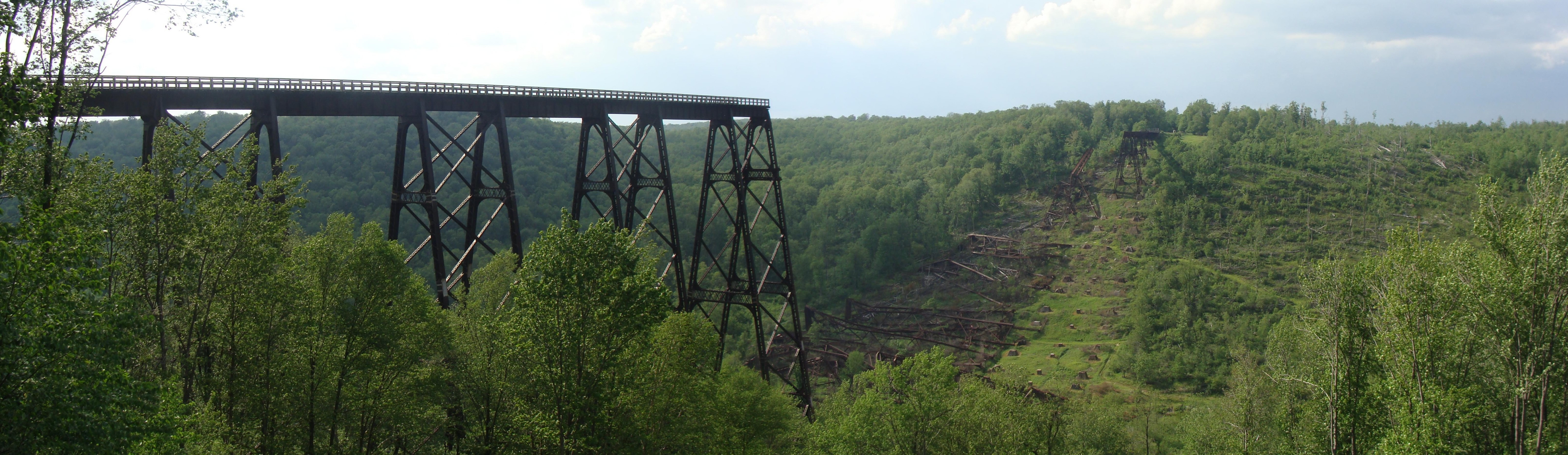 Panoramic view of the remains of the Kinzua Bridge