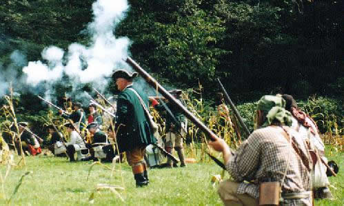 Re-enactors attack a replica of Kittanning