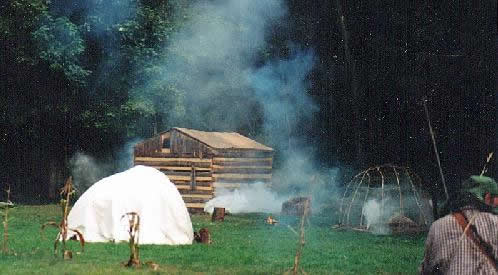 Captain Jacobs' cabin burns in a re-enactment