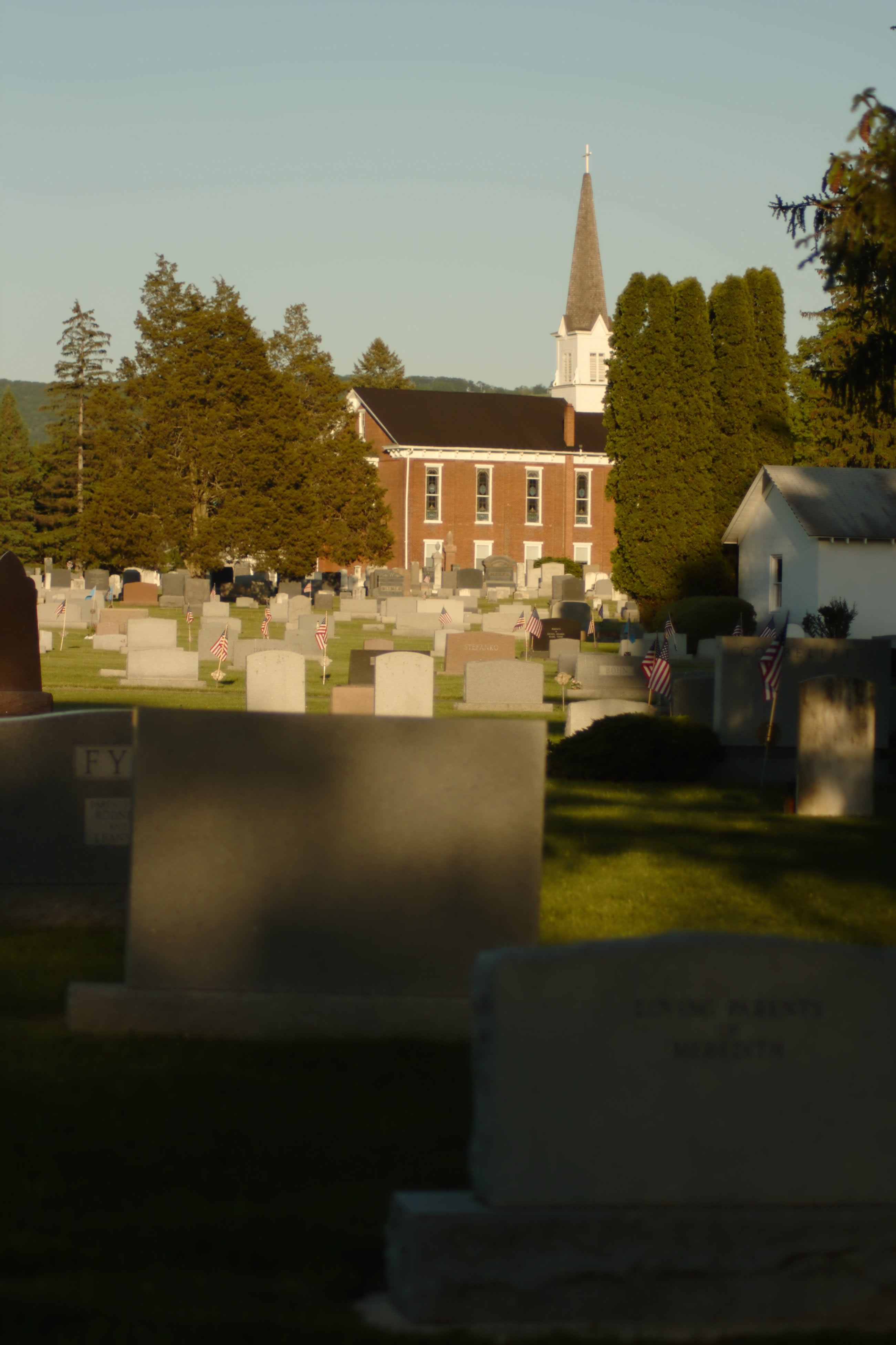 Boalsburg Cemetery at Sunset, Decorated