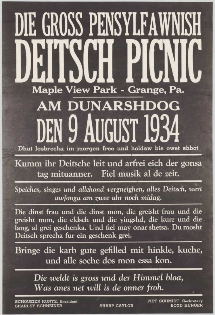Poster for the 1934 PA Dutch Picnic