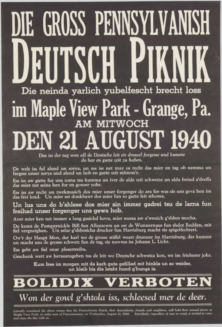 Poster for the 1940 PA Dutch Picnic