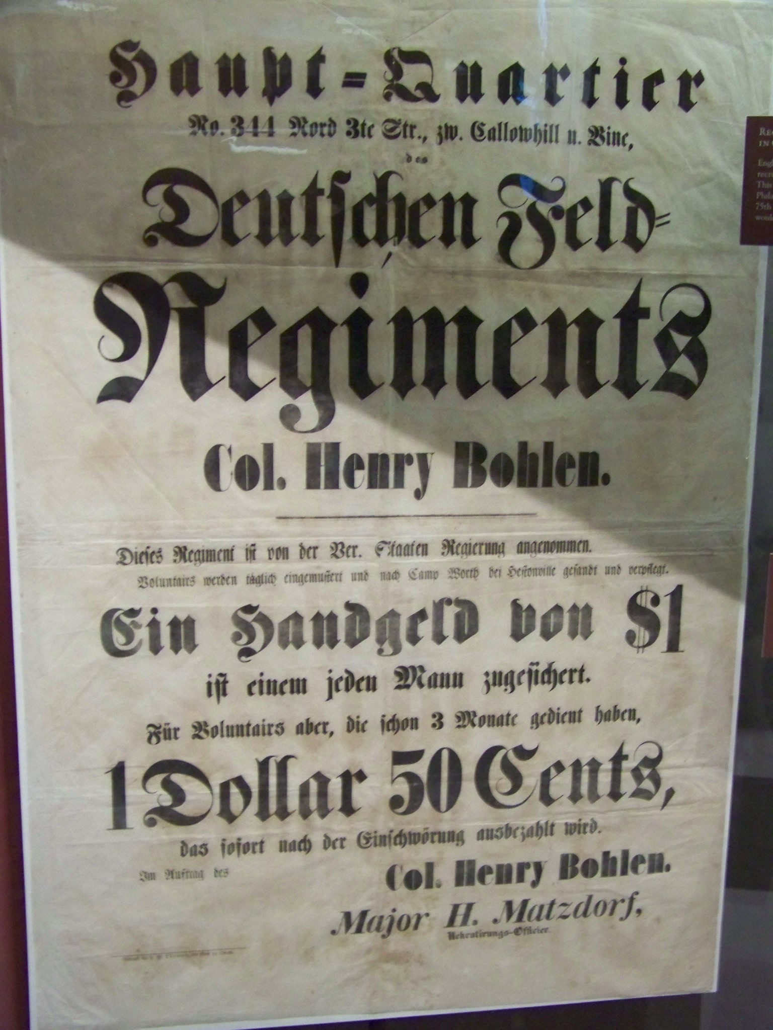 Recruiting Poster for Pennsylvania Germans in the Civil War