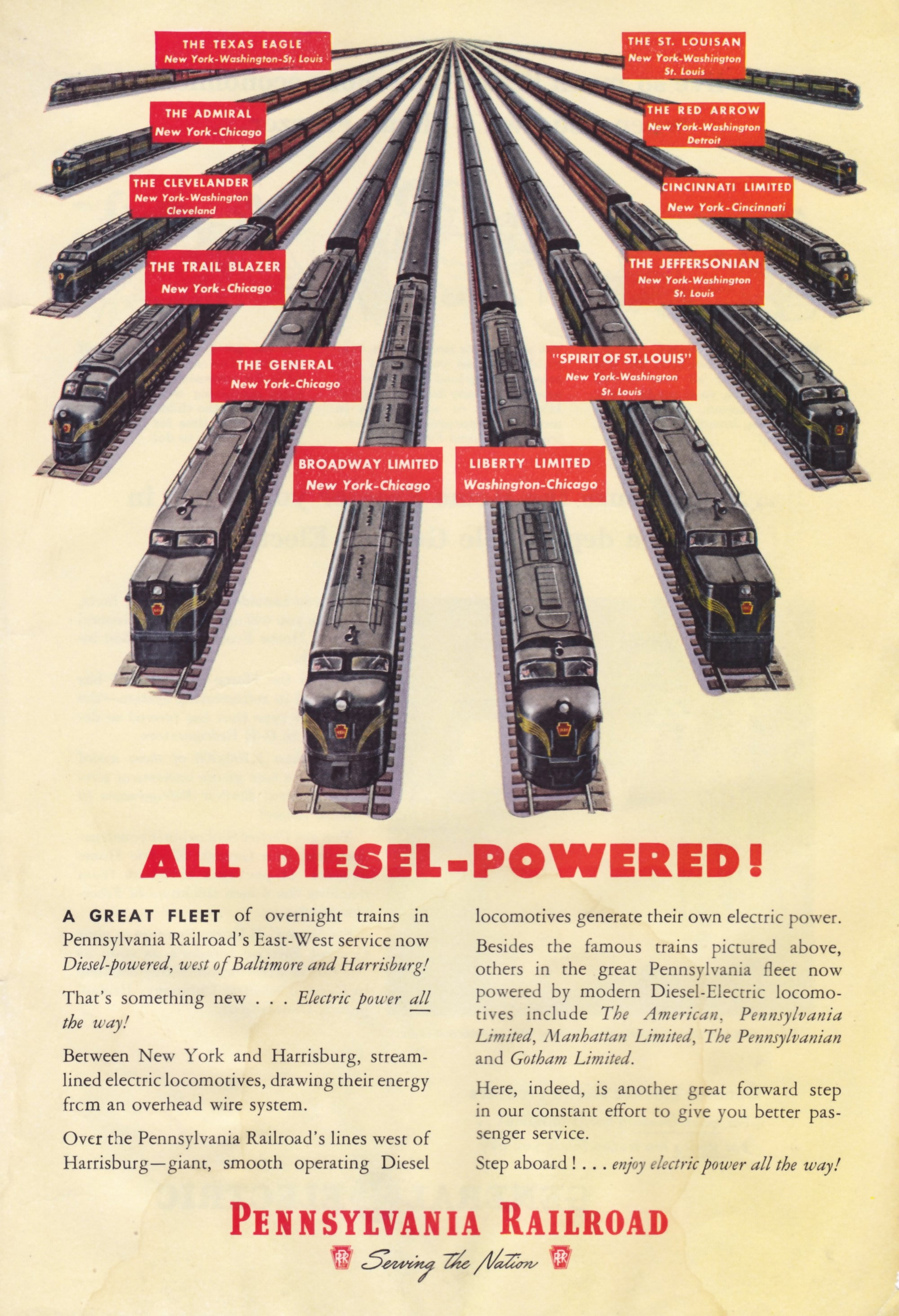 PA Railroad ad for its diesel engines