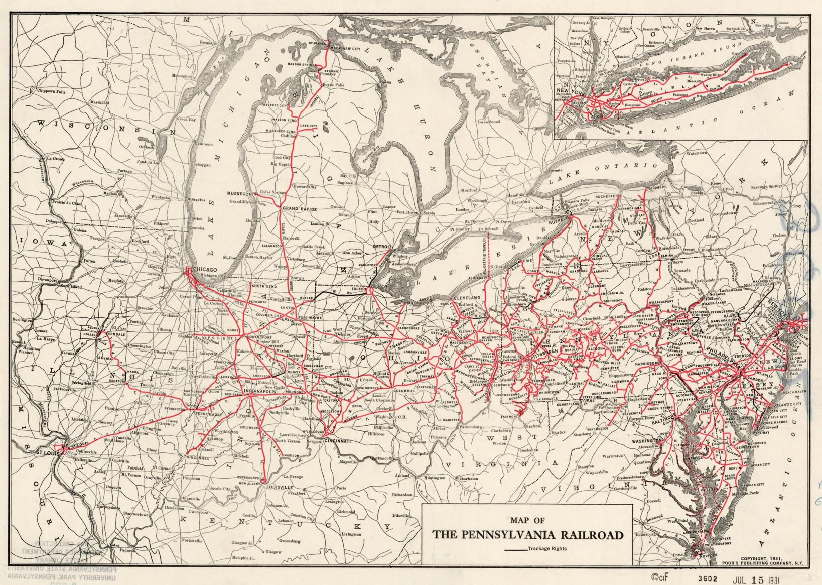 PA Railroad route map of 1931