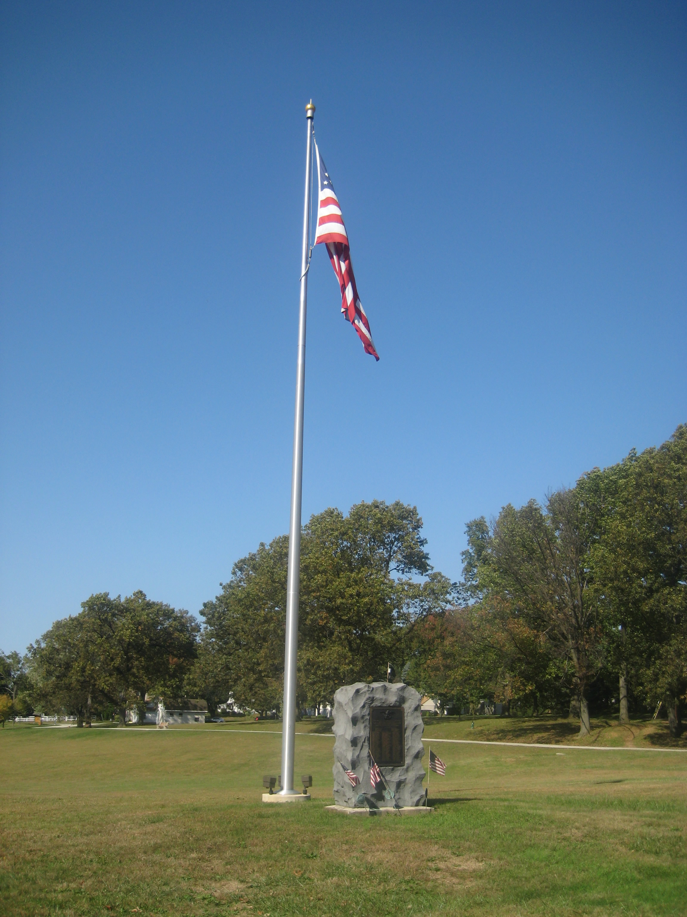 Flag and Monument to the Fallen