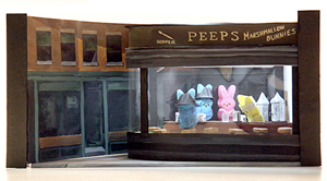 A Peeps parody of the painting Nighthawks
