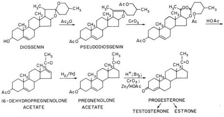 Chemical diagrams depicting the sequence of compounds leading to synthetic progesterone