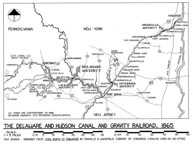 Map of the Delaware and Hudson Canal System