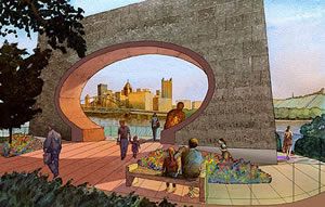 Artists Rendering of a park for Mister Rogers