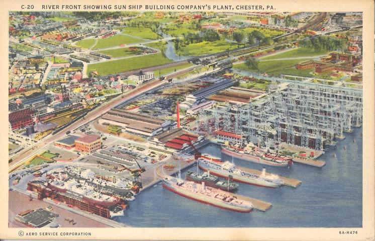 A postcard featuring an aerial view of the Sun Shipyard and Dry Dock Facility