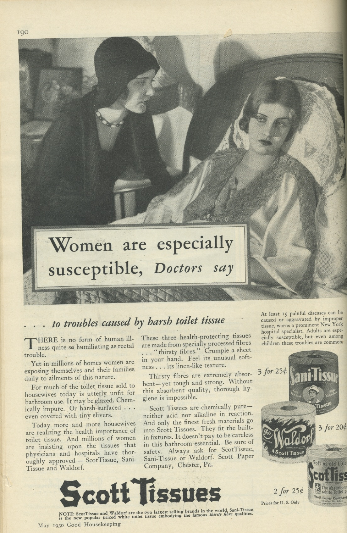 1930 Good Housekeeping Ad for Scott Tissue touting the benefits for women of the product