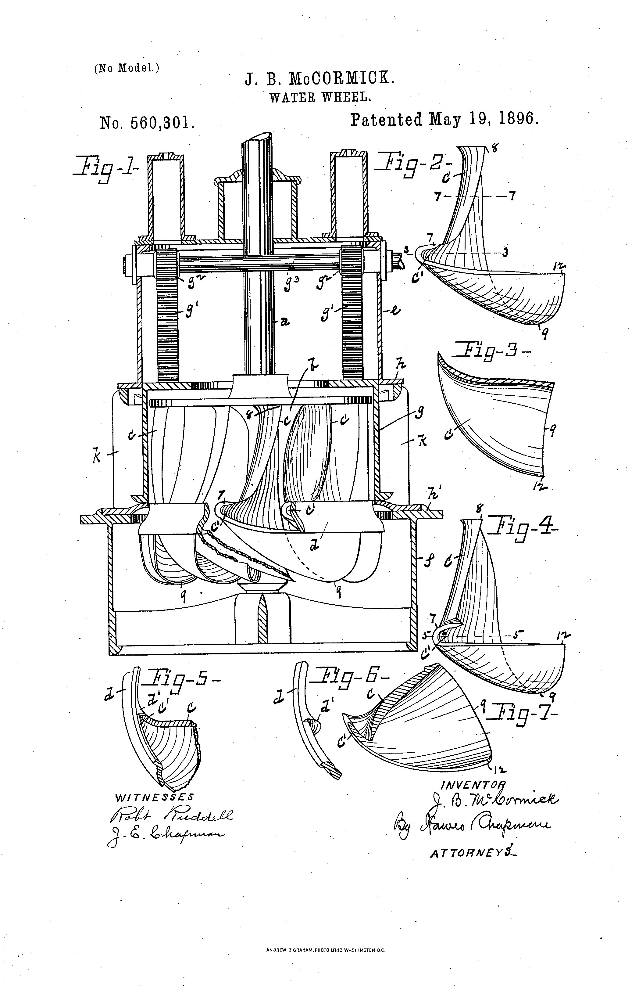 John B. McCormick's patent for the mixed flow water turbine