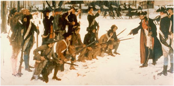 Von Steuben Drilling the Troops at Valley Forge