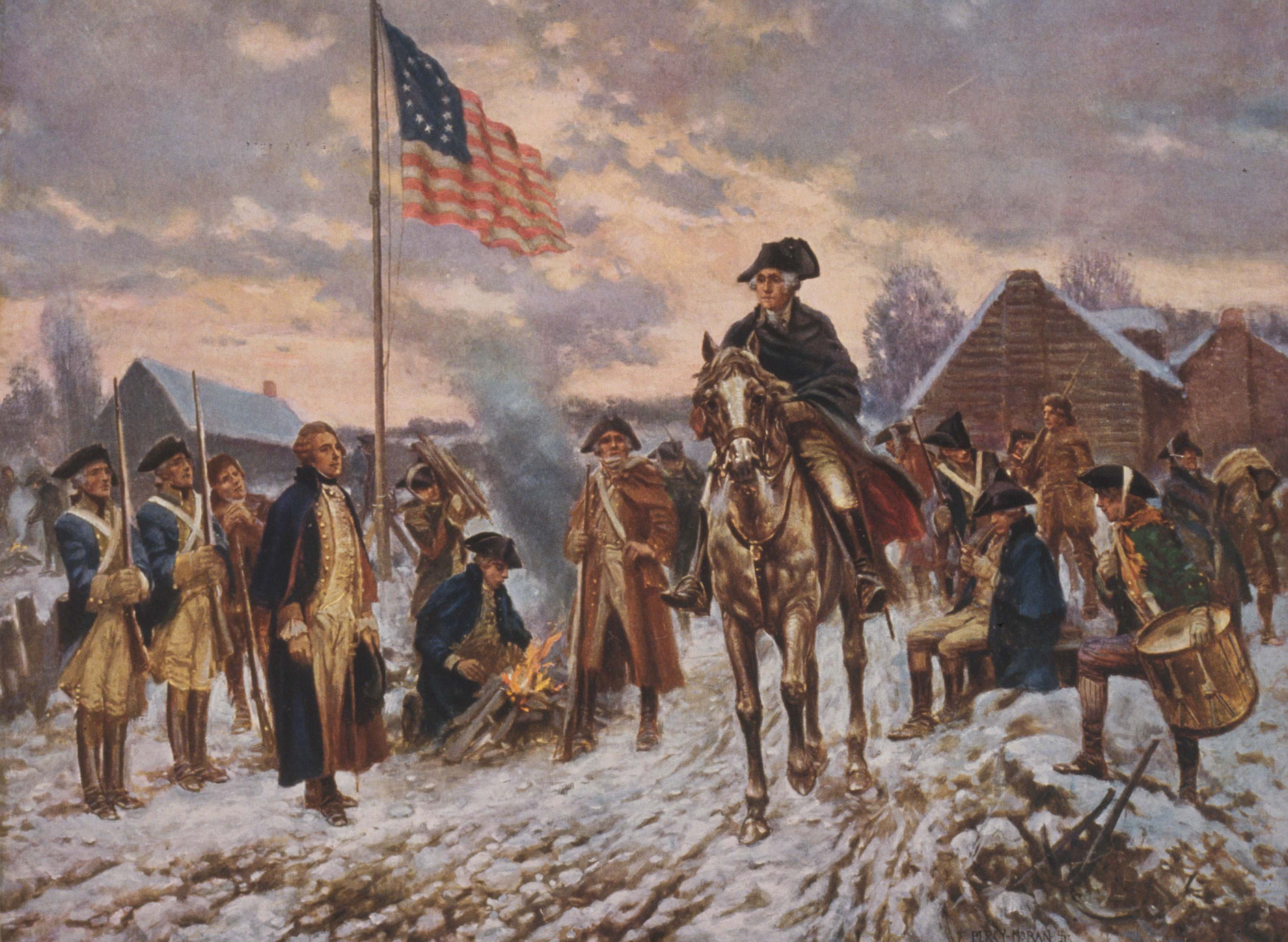 Washington and His Troops at Valley Forge