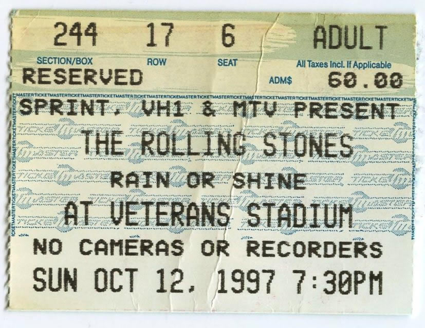 Ticket for a Rolling Stones concert at the Vet