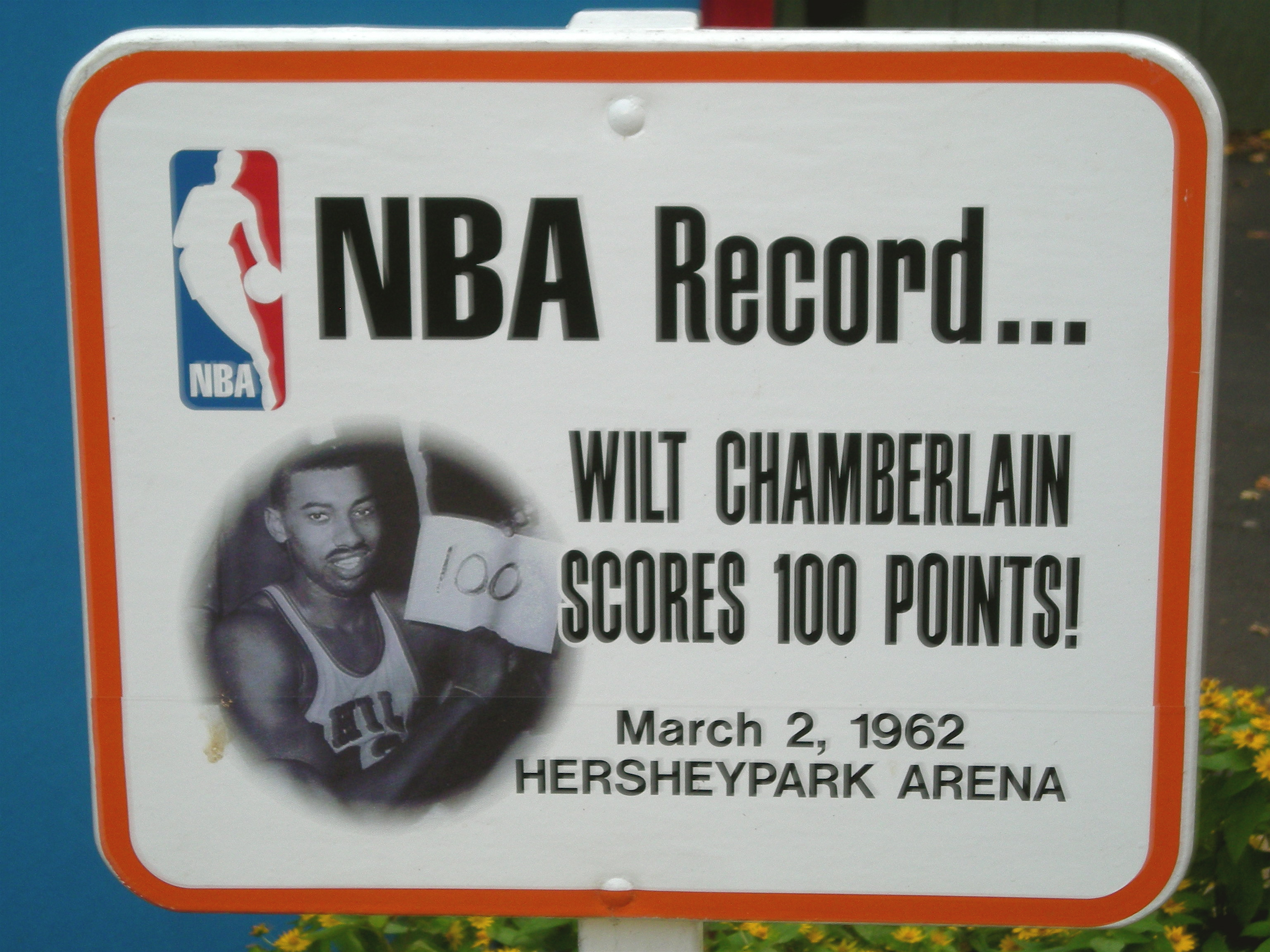 Sign Outside Hershey Arena commemorating the night of 100 points