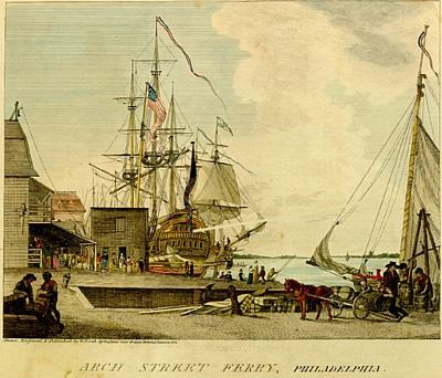 Woodcut of the Arch Street Ferry